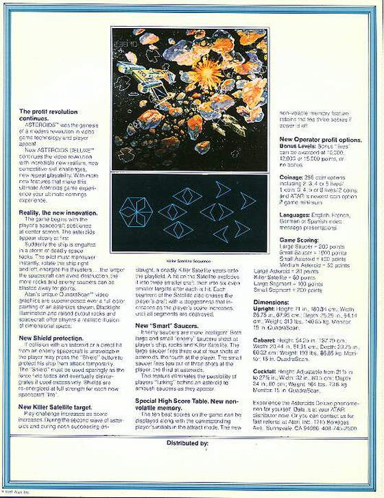 Asteroids Deluxe Flyer: 2 Back