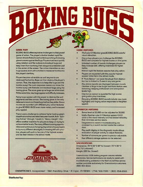 Boxing Bugs Flyer: 2 Back