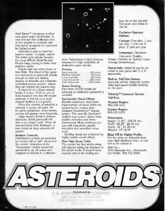 Asteroids Flyer: 2 Back