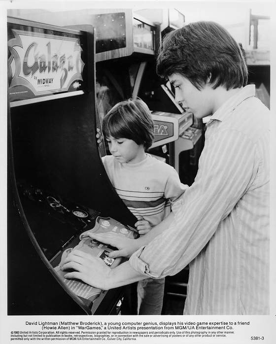 "Black and White ""Wargames"" slick featuring Matthew Broderick playing Galaga."