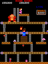 'Donkey Kong' gameplay screen shot